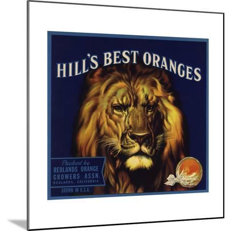 Hills Best Brand - Redlands, California - Citrus Crate Label-Lantern Press-Mounted Art Print