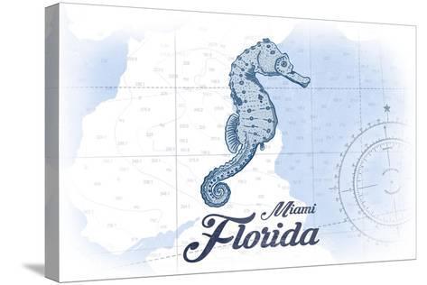 Miami, Florida - Seahorse - Blue - Coastal Icon-Lantern Press-Stretched Canvas Print