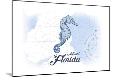 Miami, Florida - Seahorse - Blue - Coastal Icon-Lantern Press-Mounted Art Print