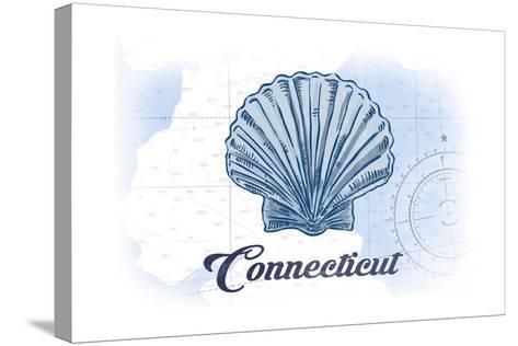 Connecticut - Scallop Shell - Blue - Coastal Icon-Lantern Press-Stretched Canvas Print