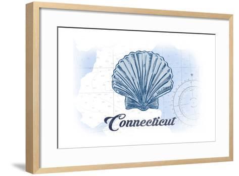 Connecticut - Scallop Shell - Blue - Coastal Icon-Lantern Press-Framed Art Print
