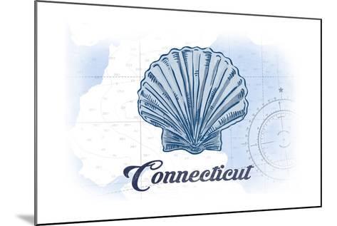 Connecticut - Scallop Shell - Blue - Coastal Icon-Lantern Press-Mounted Art Print