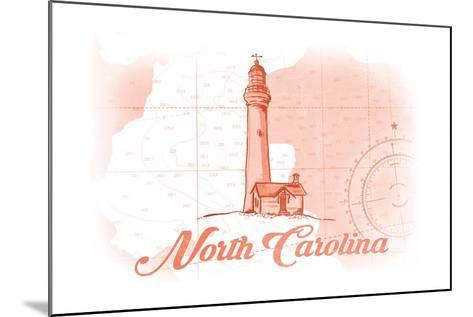 North Carolina - Lighthouse - Coral - Coastal Icon-Lantern Press-Mounted Art Print