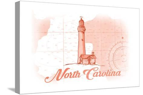 North Carolina - Lighthouse - Coral - Coastal Icon-Lantern Press-Stretched Canvas Print
