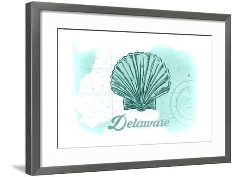 Delaware - Scallop Shell - Teal - Coastal Icon-Lantern Press-Framed Art Print