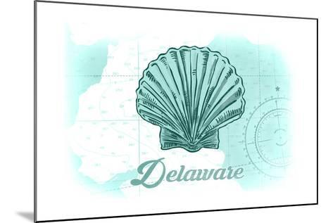 Delaware - Scallop Shell - Teal - Coastal Icon-Lantern Press-Mounted Art Print