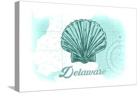 Delaware - Scallop Shell - Teal - Coastal Icon-Lantern Press-Stretched Canvas Print