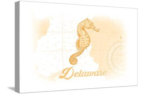Delaware - Seahorse - Yellow - Coastal Icon-Lantern Press-Stretched Canvas Print