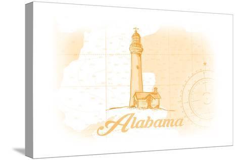 Alabama - Lighthouse - Yellow - Coastal Icon-Lantern Press-Stretched Canvas Print