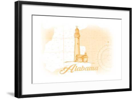 Alabama - Lighthouse - Yellow - Coastal Icon-Lantern Press-Framed Art Print