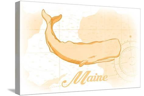 Maine - Whale - Yellow - Coastal Icon-Lantern Press-Stretched Canvas Print