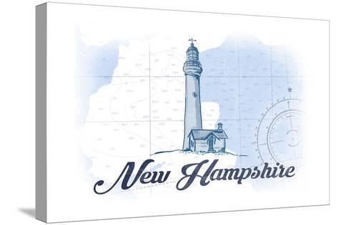 New Hampshire - Lighthouse - Blue - Coastal Icon-Lantern Press-Stretched Canvas Print