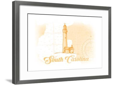 South Carolina - Lighthouse - Yellow - Coastal Icon-Lantern Press-Framed Art Print
