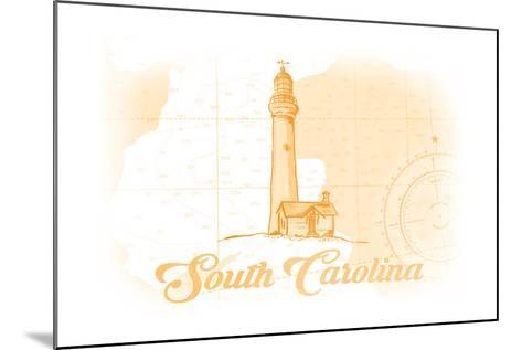 South Carolina - Lighthouse - Yellow - Coastal Icon-Lantern Press-Mounted Art Print