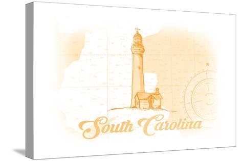 South Carolina - Lighthouse - Yellow - Coastal Icon-Lantern Press-Stretched Canvas Print