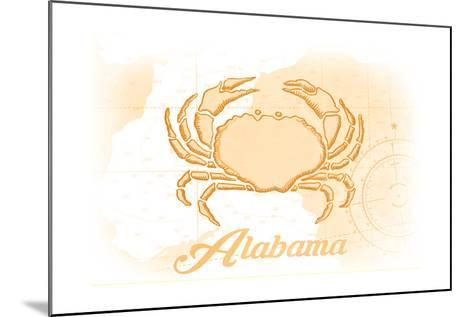 Alabama - Crab - Yellow - Coastal Icon-Lantern Press-Mounted Art Print