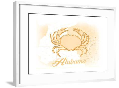 Alabama - Crab - Yellow - Coastal Icon-Lantern Press-Framed Art Print
