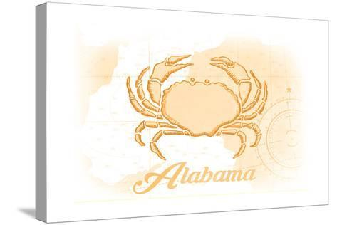 Alabama - Crab - Yellow - Coastal Icon-Lantern Press-Stretched Canvas Print
