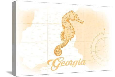 Georgia - Seahorse - Yellow - Coastal Icon-Lantern Press-Stretched Canvas Print