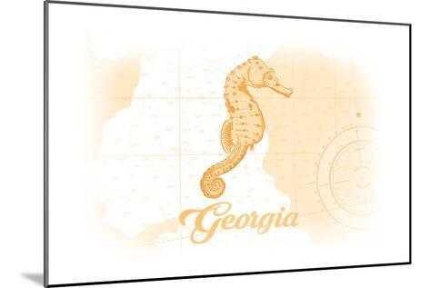 Georgia - Seahorse - Yellow - Coastal Icon-Lantern Press-Mounted Art Print