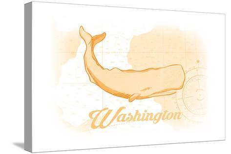 Washington - Whale - Yellow - Coastal Icon-Lantern Press-Stretched Canvas Print