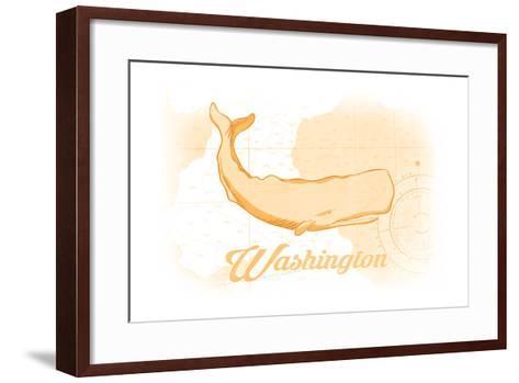 Washington - Whale - Yellow - Coastal Icon-Lantern Press-Framed Art Print