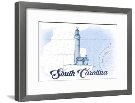 South Carolina - Lighthouse - Blue - Coastal Icon-Lantern Press-Framed Art Print