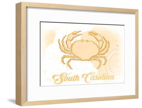 South Carolina - Crab - Yellow - Coastal Icon-Lantern Press-Framed Art Print