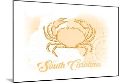 South Carolina - Crab - Yellow - Coastal Icon-Lantern Press-Mounted Art Print
