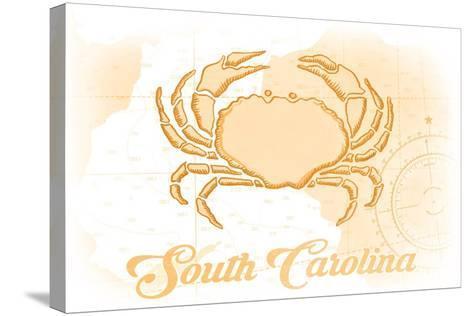 South Carolina - Crab - Yellow - Coastal Icon-Lantern Press-Stretched Canvas Print