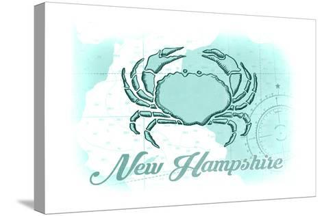New Hampshire - Crab - Teal - Coastal Icon-Lantern Press-Stretched Canvas Print