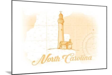 North Carolina - Lighthouse - Yellow - Coastal Icon-Lantern Press-Mounted Art Print