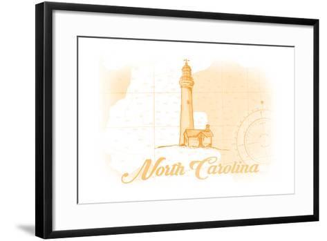North Carolina - Lighthouse - Yellow - Coastal Icon-Lantern Press-Framed Art Print