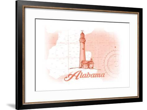 Alabama - Lighthouse - Coral - Coastal Icon-Lantern Press-Framed Art Print