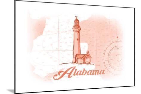 Alabama - Lighthouse - Coral - Coastal Icon-Lantern Press-Mounted Art Print