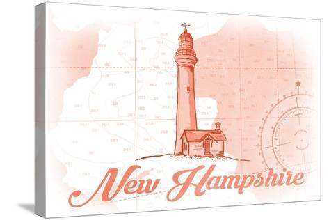 New Hampshire - Lighthouse - Coral - Coastal Icon-Lantern Press-Stretched Canvas Print
