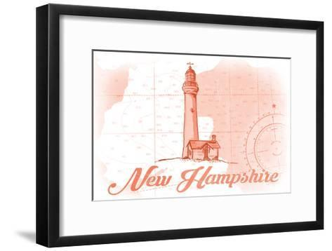 New Hampshire - Lighthouse - Coral - Coastal Icon-Lantern Press-Framed Art Print