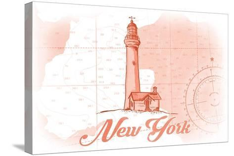 New York - Lighthouse - Coral - Coastal Icon-Lantern Press-Stretched Canvas Print