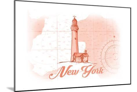 New York - Lighthouse - Coral - Coastal Icon-Lantern Press-Mounted Art Print