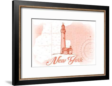 New York - Lighthouse - Coral - Coastal Icon-Lantern Press-Framed Art Print
