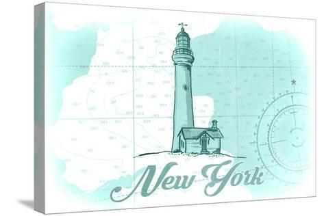 New York - Lighthouse - Teal - Coastal Icon-Lantern Press-Stretched Canvas Print