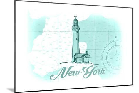 New York - Lighthouse - Teal - Coastal Icon-Lantern Press-Mounted Art Print