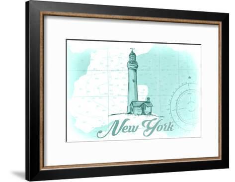 New York - Lighthouse - Teal - Coastal Icon-Lantern Press-Framed Art Print