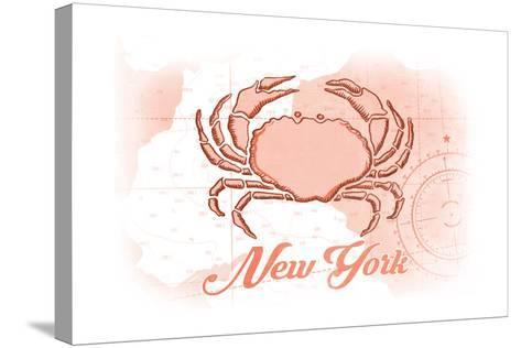 New York - Crab - Coral - Coastal Icon-Lantern Press-Stretched Canvas Print