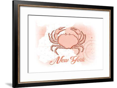 New York - Crab - Coral - Coastal Icon-Lantern Press-Framed Art Print