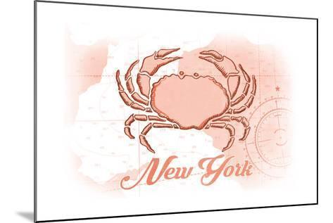 New York - Crab - Coral - Coastal Icon-Lantern Press-Mounted Art Print