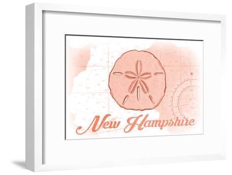 New Hampshire - Sand Dollar - Coral - Coastal Icon-Lantern Press-Framed Art Print