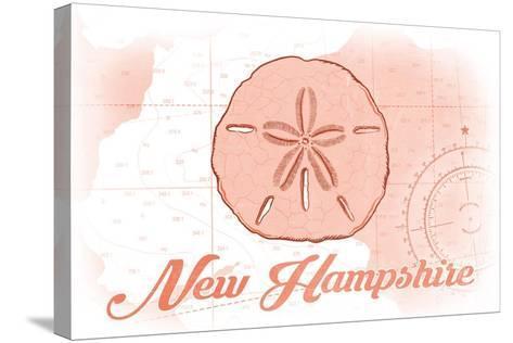 New Hampshire - Sand Dollar - Coral - Coastal Icon-Lantern Press-Stretched Canvas Print