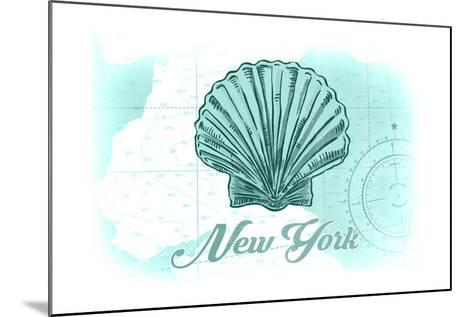 New York - Scallop Shell - Teal - Coastal Icon-Lantern Press-Mounted Art Print