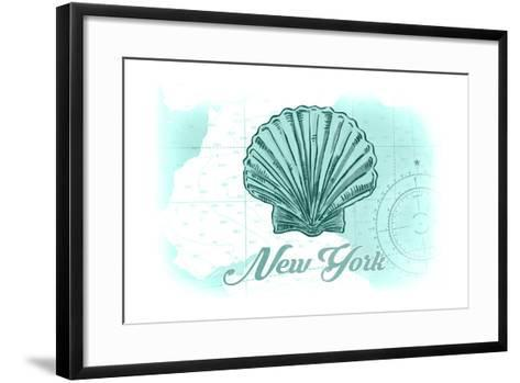 New York - Scallop Shell - Teal - Coastal Icon-Lantern Press-Framed Art Print